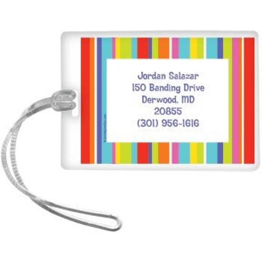 View larger image of Festive Stripes Personalized Luggage Tag (each)