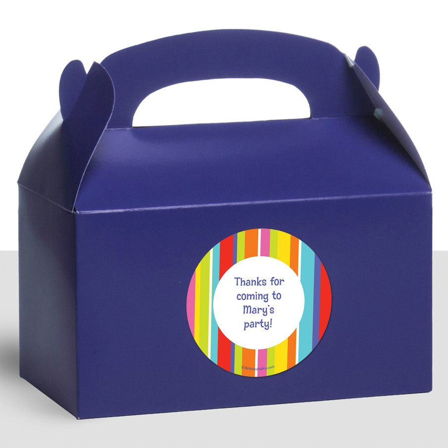 View larger image of Festive Stripes Personalized Treat Favor Boxes (12 Count)