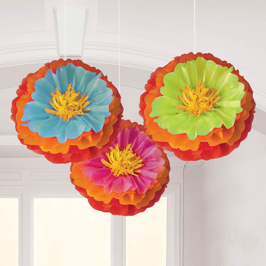 """View larger image of Fiesta Fluffy Flower 16"""" Decorations (3 Count)"""