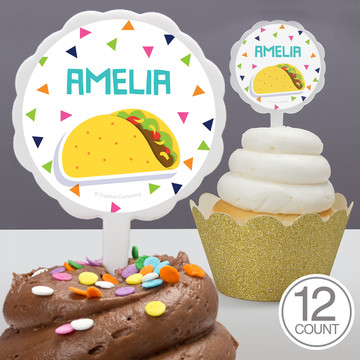 Fiesta Fun Personalized Cupcake Picks, 12ct