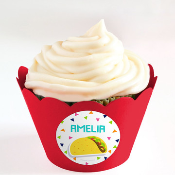 Fiesta Fun Personalized Cupcake Wrappers (Set of 24)