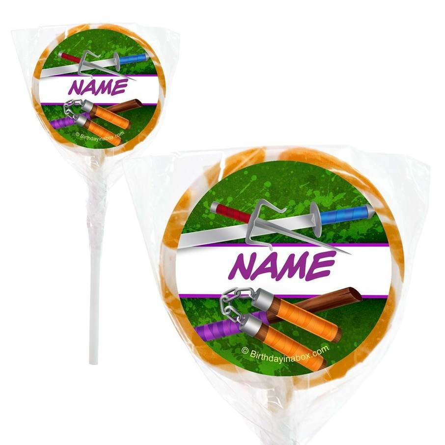 """View larger image of Fighting Turtles Personalized 2"""" Lollipops (20 Pack)"""