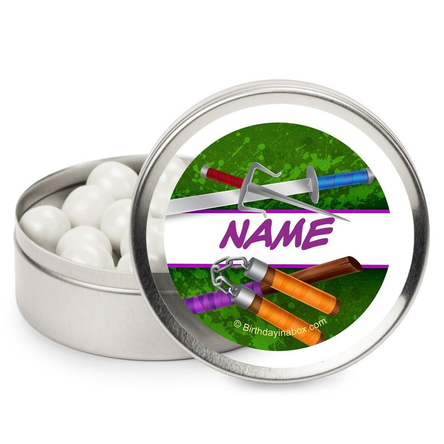 View larger image of Fighting Turtles Personalized Candy Tins (12 Pack)