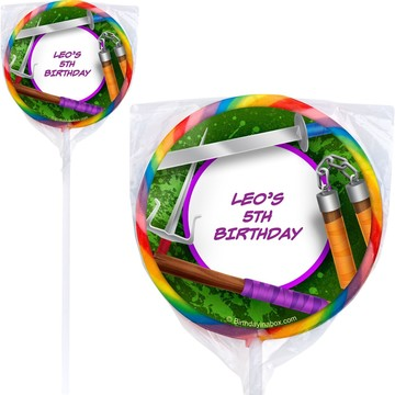 Fighting Turtles Personalized Lollipops (12 Pack)