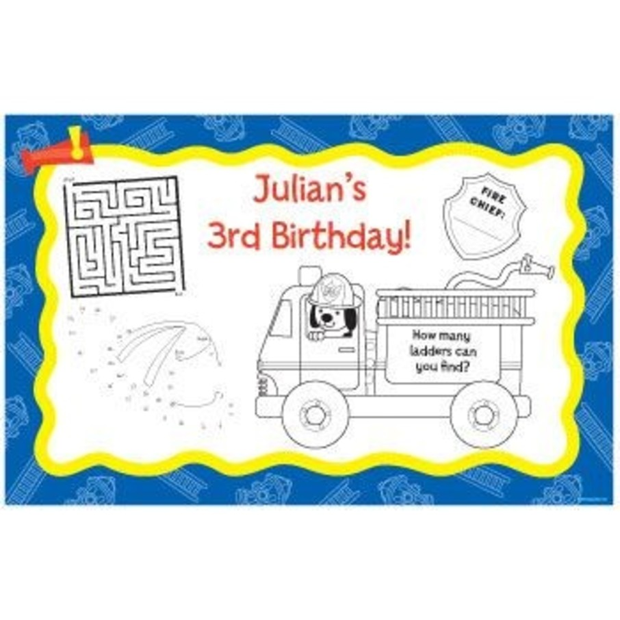 View larger image of Fire Truck Personalized Activity Mats (8-pack)