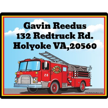 Fire Truck Personalized Address Labels (Sheet of 15)