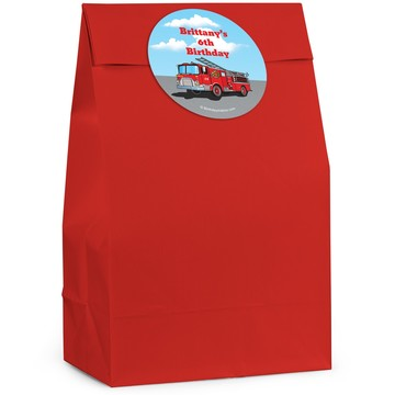 Fire Truck Personalized Favor Bag (12 Pack)
