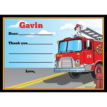 Fire Truck Personalized Thank You (Each)