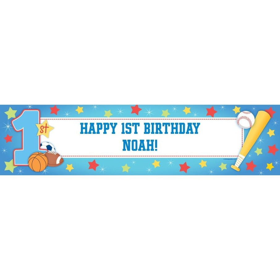 View larger image of First Birthday All-star Personalized Banner (each)