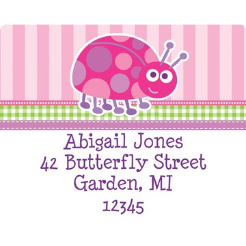 First Birthday Ladybug Personalized Address Label