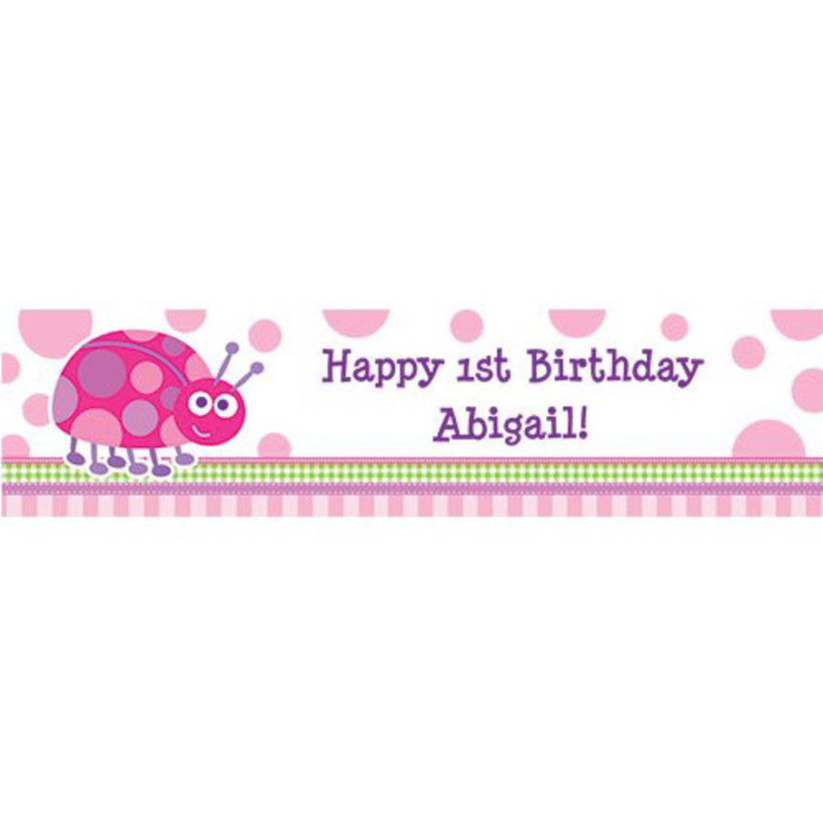 View larger image of First Birthday Ladybug Personalized Banner (each)