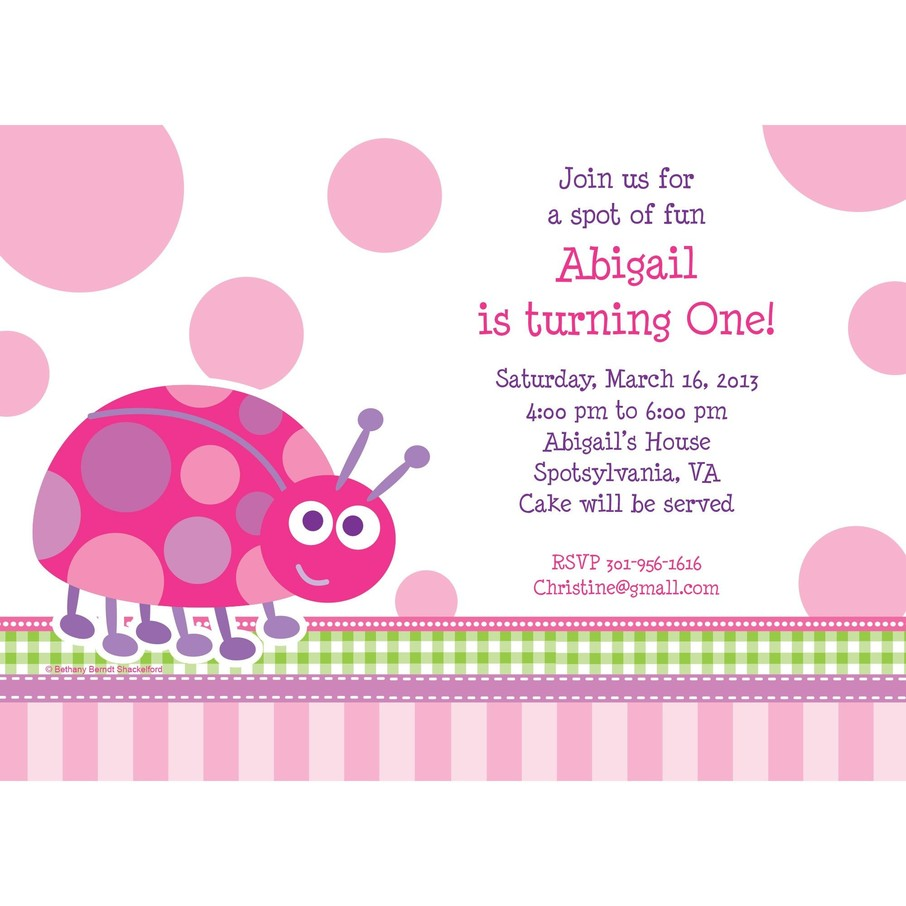 View larger image of First Birthday Ladybug Personalized Invitation (each)
