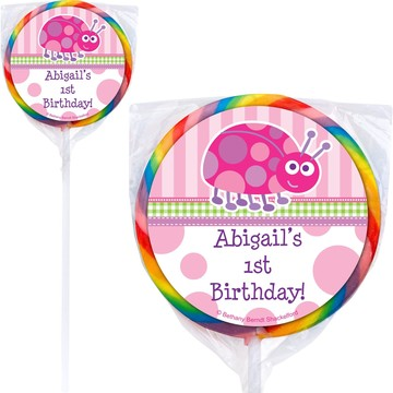 First Birthday Ladybug Personalized Lollipop (pack of 12)