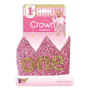 First Birthday Pink Glitter Crown