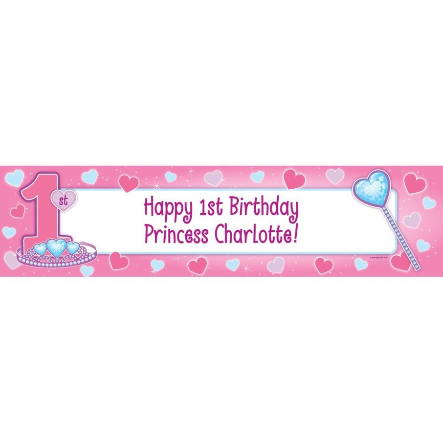 View larger image of First Birthday Princess Personalized Banner (each)