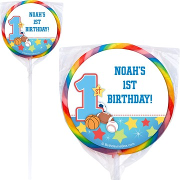 First Birthday Sport Star Personalized Lollipop (pack of 12)