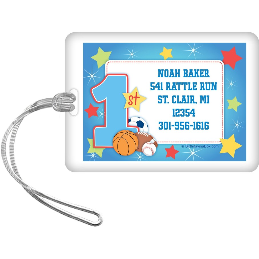View larger image of First Birthday Sport Star Personalized Luggage Tag (each)