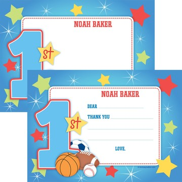 First Birthday Sport Star Personalized Thank You Note