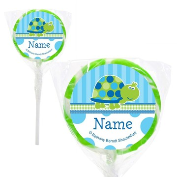 """First Birthday Turtle Personalized 2"""" Lollipops (20 Pack)"""