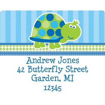 First Birthday Turtle Personalized Address Label