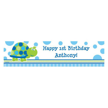 First Birthday Turtle Personalized Banner (each)