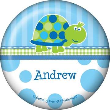 First Birthday Turtle Personalized Button (each)