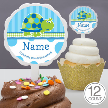 First Birthday Turtle Personalized Cupcake Picks (12 Count)