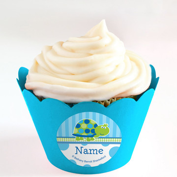 First Birthday Turtle Personalized Cupcake Wrappers (Set of 24)