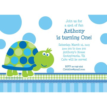 First Birthday Turtle Personalized Invitation (Each)