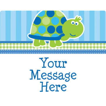 First Birthday Turtle Personalized Rectangular Stickers (Sheet of 15)