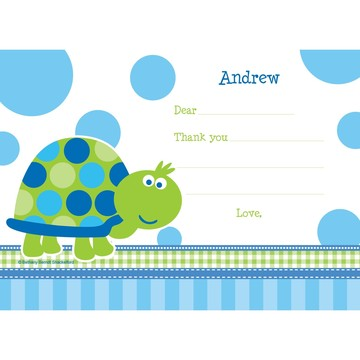 First Birthday Turtle Personalized Thank You Note