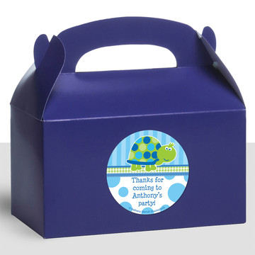 First Birthday Turtle Personalized Treat Favor Boxes (12 Count)