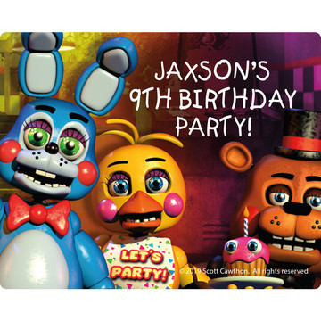 Five Nights at Freddy's Personalized Rectangular Stickers (Sheet of 15)