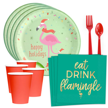 Flamingo Cheer Standard Tableware Kit (Serves 8)