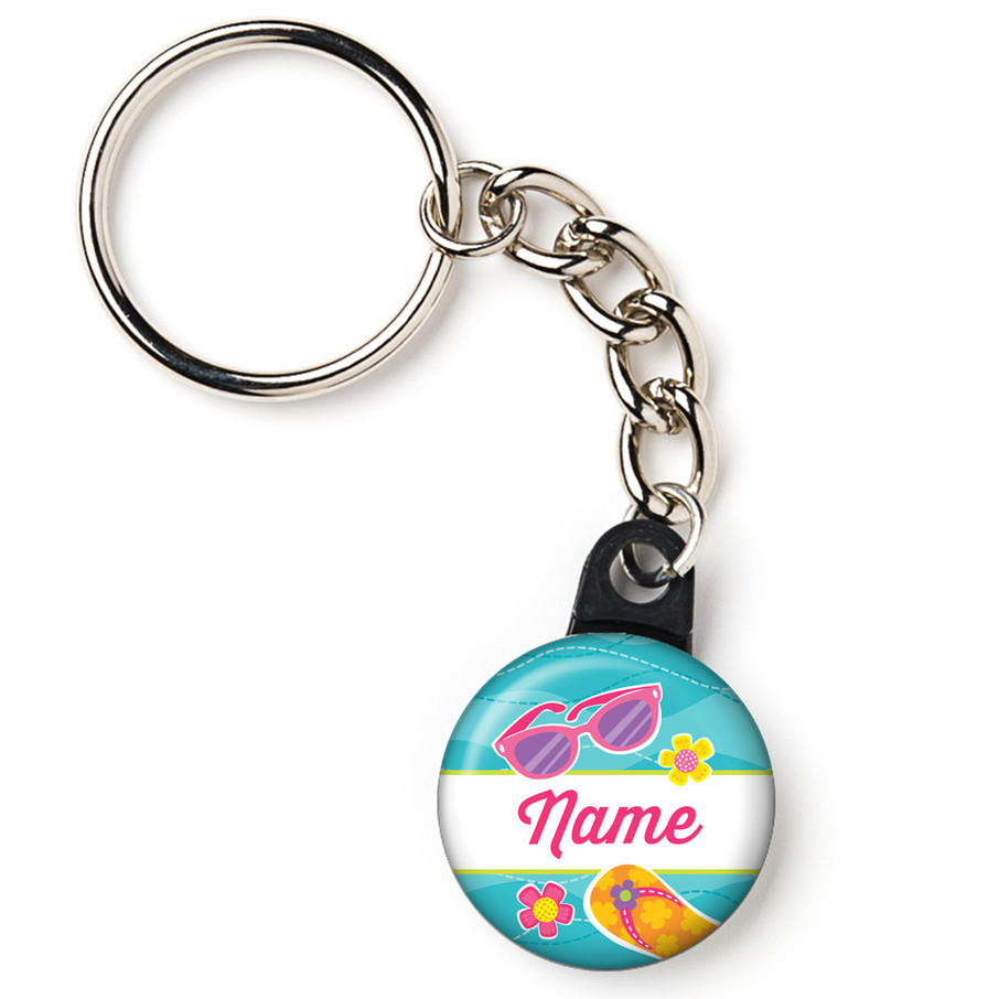 """View larger image of Flip Flop Fun Personalized 1"""" Mini Key Chain (Each)"""