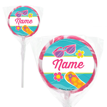 "Flip Flop Fun Personalized 2"" Lollipops (20 Pack)"
