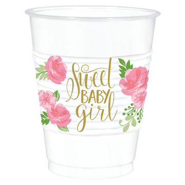 Floral Baby Plastic Cups (25)