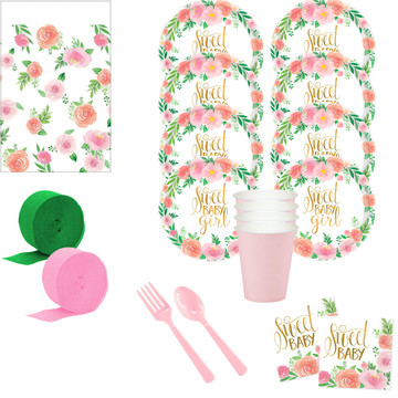 Floral Baby Shower Deluxe Tableware Kit (Serves 8)