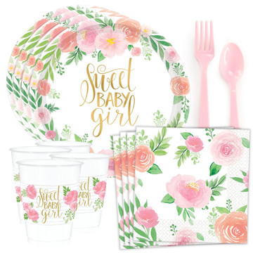 Floral Baby Shower Standard Tableware Kit (Serves 24)