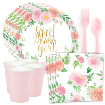 Floral Baby Shower Standard Tableware Kit (Serves 8)
