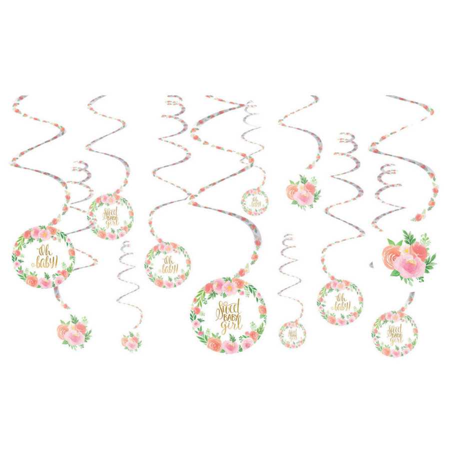 View larger image of Floral Baby Swirl Decorations(12)