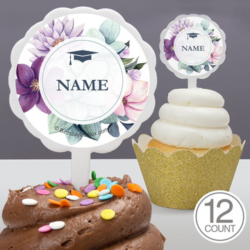 Floral Graduation Personalized Cupcake Picks (12 Count)