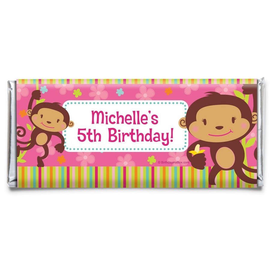 View larger image of Flower Monkey Personalized Candy Bar Wrapper (Each)