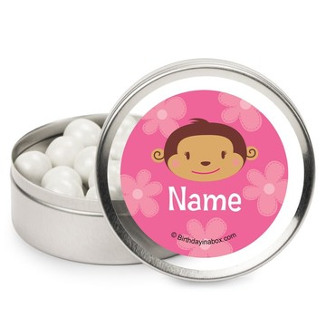 Flower Monkey Personalized Candy Tins (12 Pack)