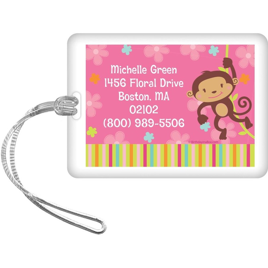 View larger image of Flower Monkey Personalized Luggage Tag (each)