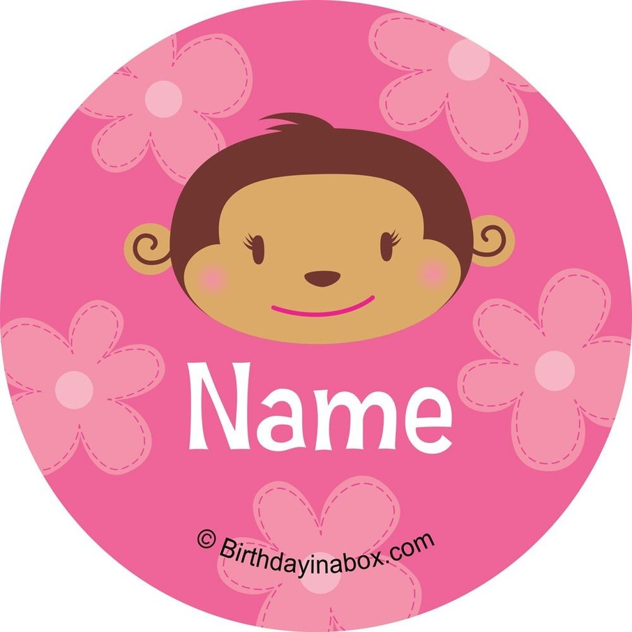 View larger image of Flower Monkey Personalized Mini Stickers (Sheet of 24)