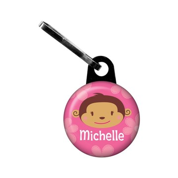 Flower Monkey Personalized Mini Zipper Pull (each)
