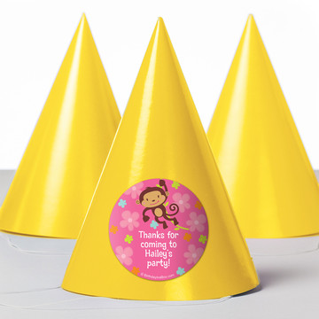 Flower Monkey Personalized Party Hats (8 Count)