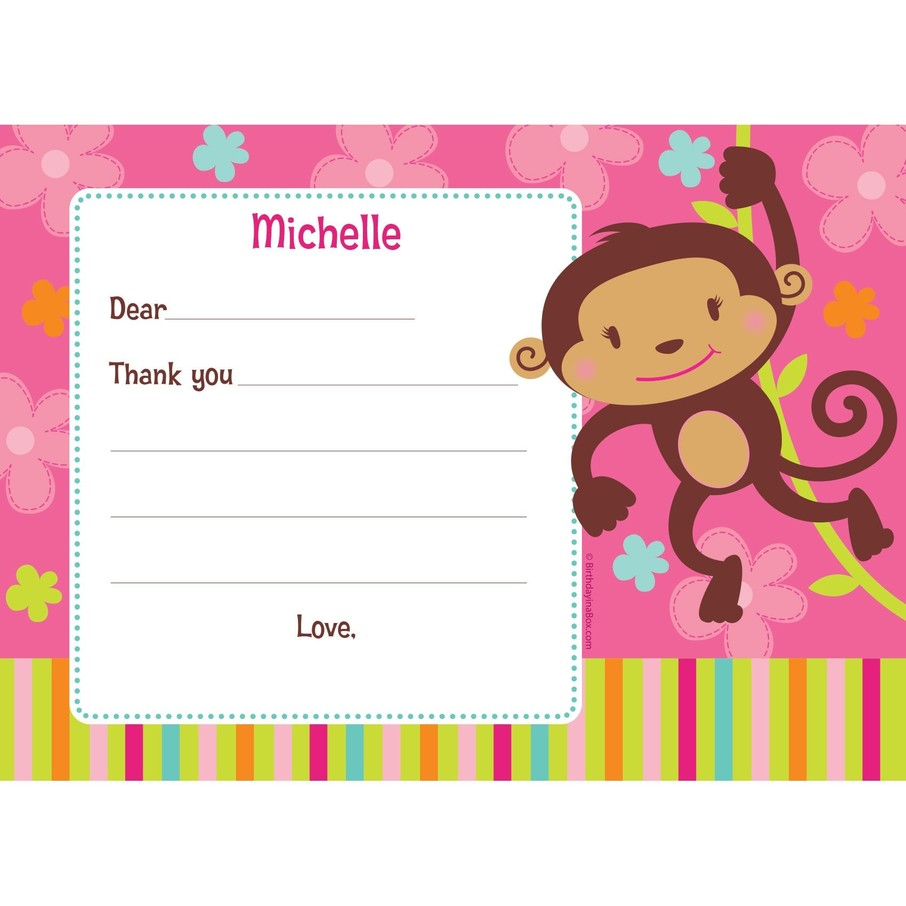 View larger image of Flower Monkey Personalized Thank You Note (each)