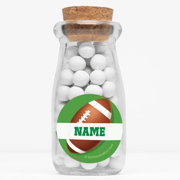 "Football Party Personalized 4"" Glass Milk Jars (Set of 12)"